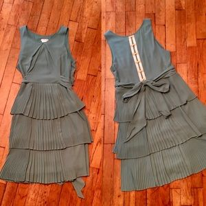 Esley Dark Seafoam Dress Tiered Skirt Bow Back